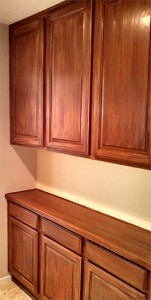 Faux Wood Cabinets Showcase Beams
